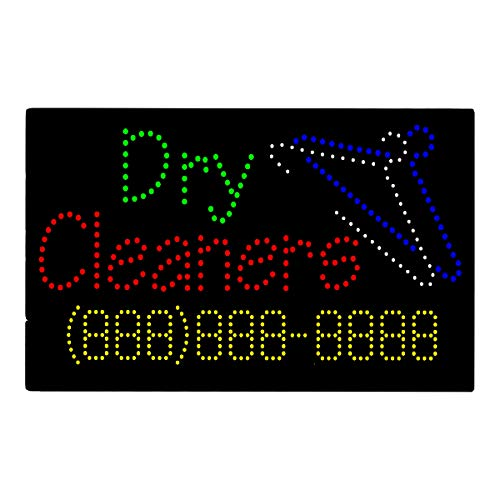 Spring Coin Set - LED Laundry Cleaners Open Light Sign Board Super Bright Electric Advertising Display Board Banner for Coin Laundromat Dry Cleaners Business Retail Shop Store Window 31 x 17 inches