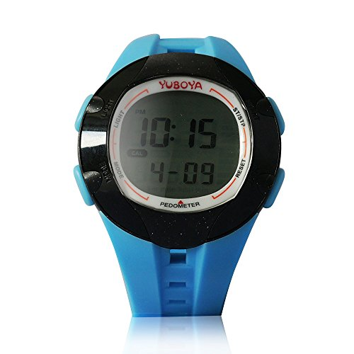 Yuboya Multi-functional Waterproof Sport Watch Alarm with Backlit Digital3D Calorie Wrist Pedometer Watch With High-grade PU Watchband, With 6 Mode-- Pedometer Mode; Stopwatch Mode; Date&Time Mode ; Accumulate Data Mode; Alarm Mode; Data Memory Mode (BLUE