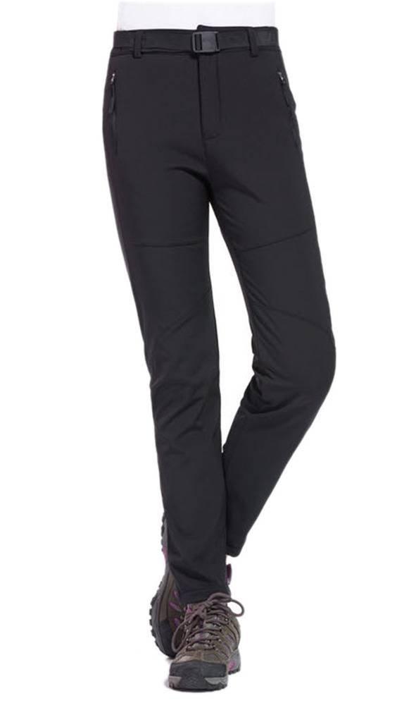 Geval Women's Outdoor Windproof Waterproof Softshell Fleece Snow Pants (S,Black)