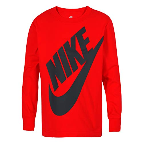 NIKE Children's Apparel Boys' Little Long Sleeve Sportswear Graphic T-Shirt, University Red, 6
