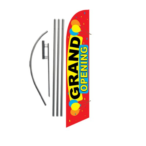 Cheap Grand Opening (red) 15ft Feather Banner Swooper Flag Kit - INCLUDES 15FT POLE KIT w/ GROUND SPIKE