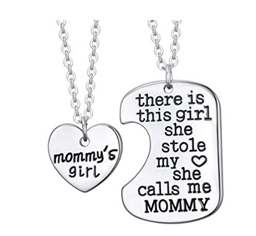 Tmrow 2pcs Family Heart Love Pendant Necklace and Keychain ()