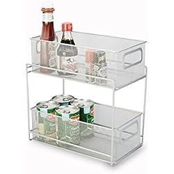Artestia 2-Tier Mesh Steel Double Sliding Cabinet Basket Organizer / Drawer, Silver