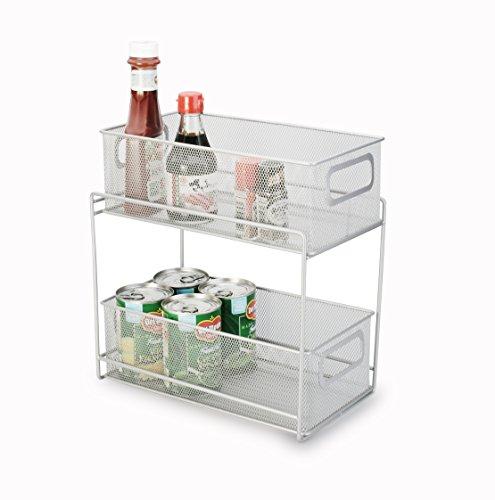 Artestia 2-Tier Mesh Steel Double Sliding Cabinet Basket Organizer/Drawer (Silver)
