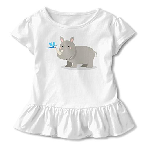Sheridan Reynolds Rhino Funny Butterfly Toddler Girls' T Shirt Cotton Basic Outfit Tee White]()