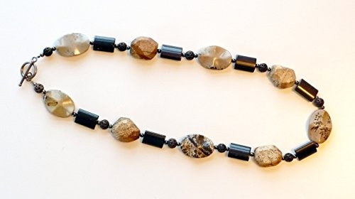 Scenery Jasper Brown Andesite Crystal and Wood Bead Chunky Natural Necklace with Sterling Silver Toggle Clasp Semi Precious Gemstone