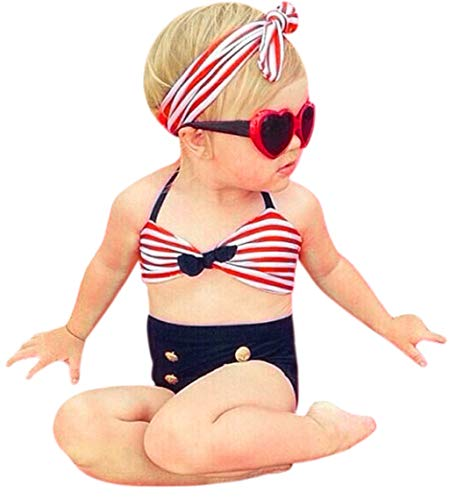 Girl 's Bikini Set,Hemlock Little Girl Swimsuit Swimwear Vest Bathing Suit (2T, Red-2)