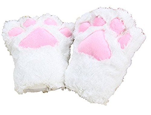 BELIFECOS Animal Claw Gloves Cat Winter Plush Paw Gloves for Girl Cosplay Party