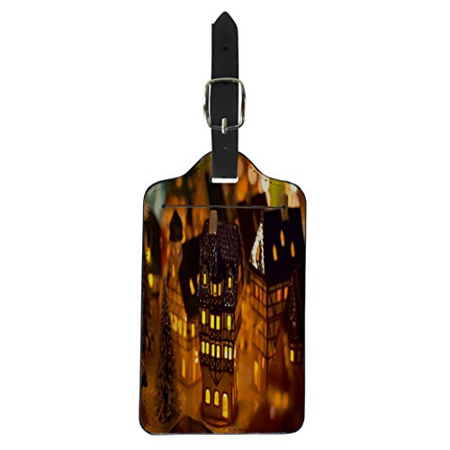 Pinbeam Luggage Tag Colorful Village Christmas Candle Houses Gingerbread German Home Suitcase Baggage Label
