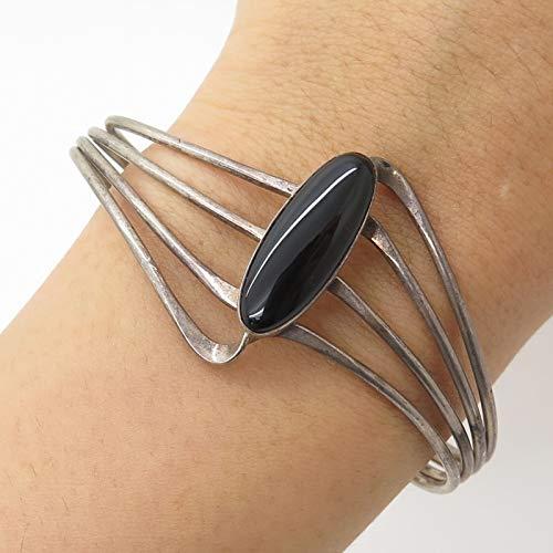 VTG 925 Silver Real Black Onyx Gemstone Modernist Adjustable Cuff Bracelet 6.5