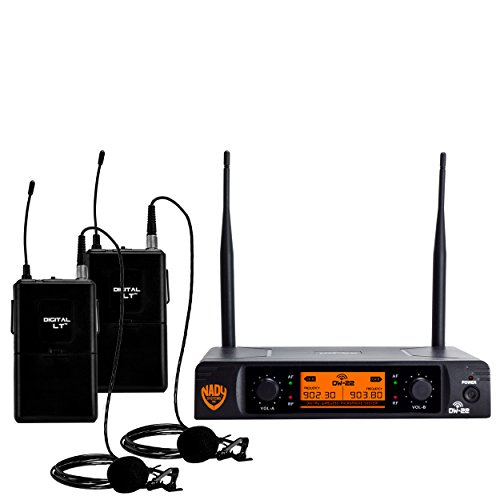 Nady DW-22 Dual Digital Wireless Lapel Microphone System - Dual fixed UHF frequency -Ultra-low latency with QPSK modulation - XLR and ¼'' outputs by Nady