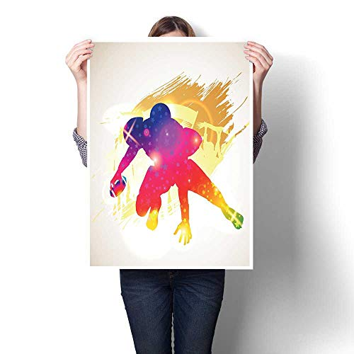 J Chief Sky Football Canvas Wall Art Vibrant Silhouette of American Football Player in Rainbow Colors Grunge Display Canvas Prints Wall Art 16