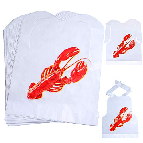 Ruisita 40 Pack Disposable Plastic Lobster Bibs for Restaurants Lobster Seafood and Crawfish Boil Party Supplies (40) ()