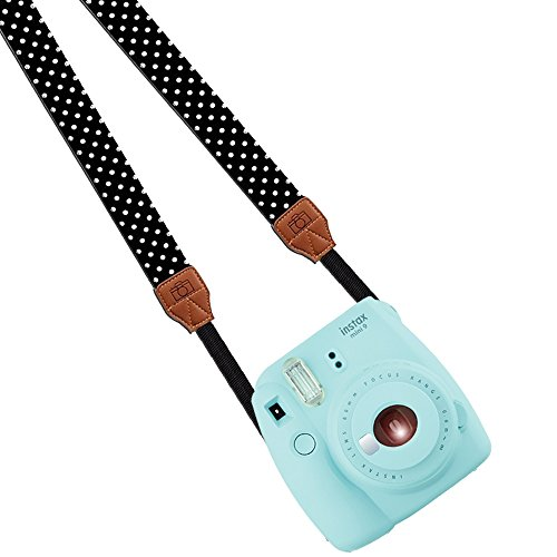 Katia Camera Shoulder Neck Strap Belt for Fujifilm Instax Mini 25/ Mini 8/ Mini 90 Instant Camera, PolaroidSocialmatic/ Z2300Instant/ PIC300InstantCamera, Nikon/ Canon Camera(Black/ white dots)