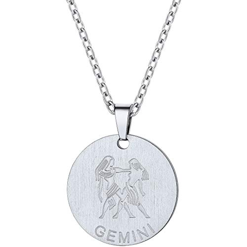 (PROSTEEL Gemini Zodiac Star Sign Coin Necklace Stainless Steel Constellation Horoscope Pendant Layered Layering Necklace Men Women Jewelry Gift)