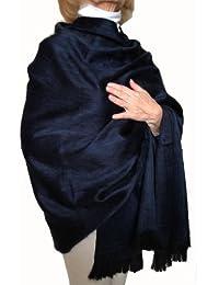 Super Soft Baby Alpaca Wool Reversible Shawl Wrap Cape Deep Dark Blue Color