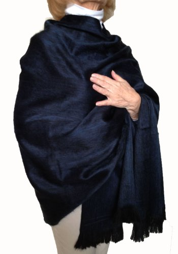 Super Soft Baby Alpaca Wool Reversible Shawl Wrap Cape Deep Dark Blue Color ()