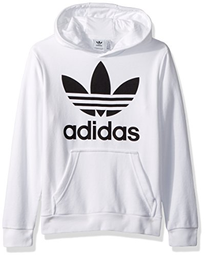 adidas Originals Big Boys' Trefoil Hoodie, White/Black, L