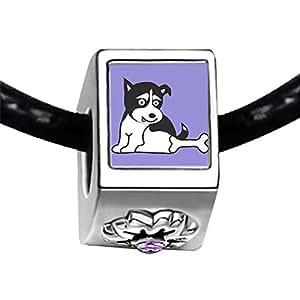Chicforest Silver Plated Alaskan Husky Dog Photo Light Amethyst Crystal June Birthstone Flower Charm Beads Fits Pandora Bracelets