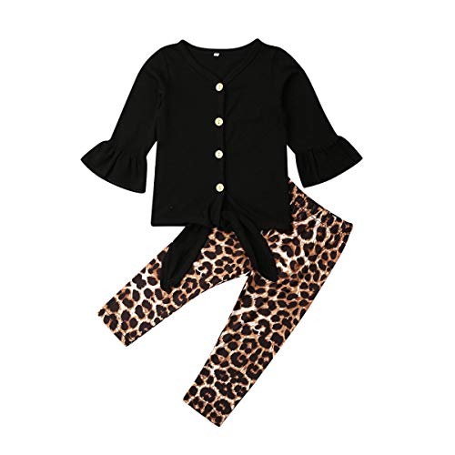 Cheetah Girls Halloween Outfits (3PCS Infant Baby Girl Leopard Outfits Fly Sleeve Hollow Romper Bodysuit+Harem Pants+Headband Clothes Set (Black Top Leo Pants, 4-5)