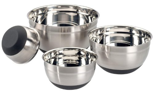 ChefLand Stainless Steel Mixing Bowl Set with Ergonomic Non-Slip Silicone Base, 4 Bowl Set 1.5, 3, 5 and LARGE 8-Quart Professional Kitchenware Collection