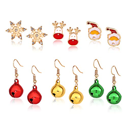 XOCARTIGE 6 Pair Christmas Earrings Set for Girls X-Mas Festive Gifts Stud Earring Set Bell Bow Drop Dangle Earrings (D 6 Pair)