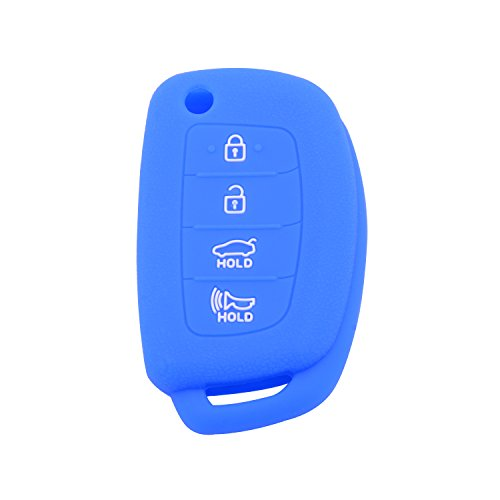Velsman 4 Buttons Flip Remote Key FOB Silicone Case Cover Protector Holder Flip Key Case Jacket Compatible with Hyundai Sonata Santa Fe XL IX35 XL IX45 Tucson - Free Wrist Strap (Blue)