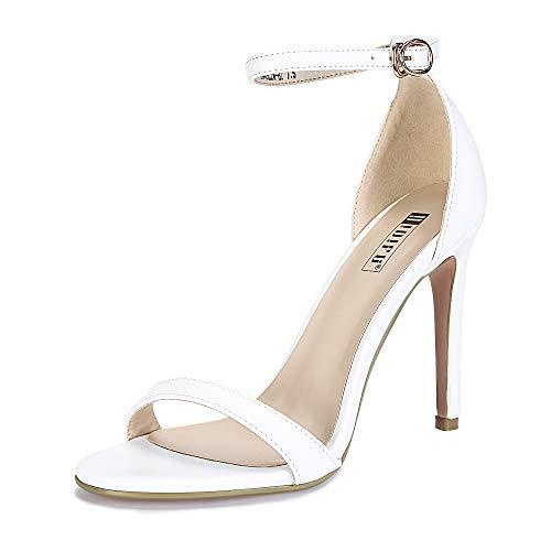 IDIFU Women's IN4 Slim-HI Open Toe Stiletto High Heel Ankle Strap Dress Sandals Party Shoes (6.5 M US, White Pu)