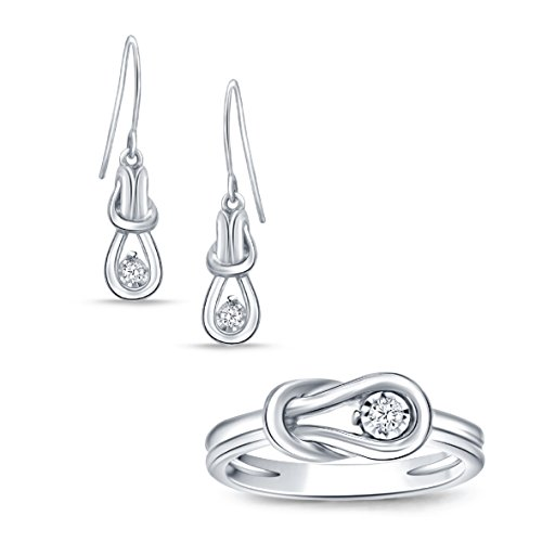 Real Diamond Love Knot Earring and Ring Ensemble Set in 925 Sterling Silver.