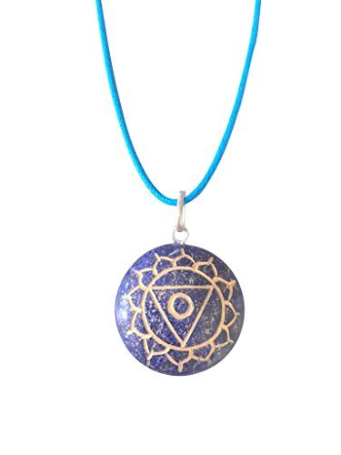 Mirabella Artisan Crafted Natural Gemstone Disc Chakra Symbol Pendant Necklace ~ Handmade Jewellery Ethically Sourced ~ Gift Box (Lapis Lazuli - Throat Chakra) (Chakra Gemstone Throat)