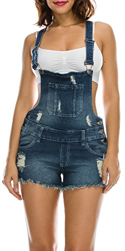 TwiinSisters Women's Destroyed Slim Curvy Pants Plus Size Short Overalls, Blue, XX-Large from TwiinSisters
