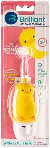Brilliant Kids Sonic Toothbrush Characters – Kids Electric Toothbrush with Flashing Lights and Super-Fine Bristles - Fun Brushing for Parent and Child, Ages 3-8 (Duck)
