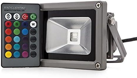 Foco Proyector de LEDs para Exterior 10W RGB con Mando Distancia ...