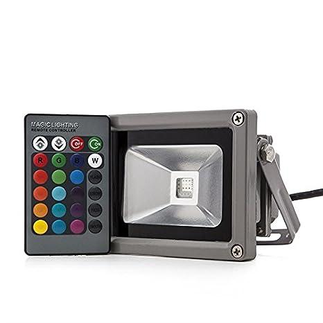 Foco Proyector de LEDs para Exterior 10W RGB con Mando ...