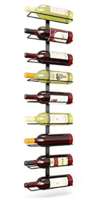 True Fabrications Wall Mount Wine Rack (Holds 9 Bottles) Sturdy Wrought-Iron Construction, Hardware Included