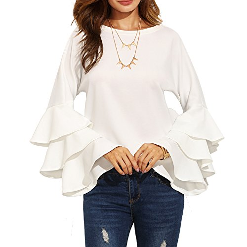 RedLife Women's Long Layered Sleeve Work Party Club Cocktail Tunic Tops Blouse Shirt (Medium, White) - Top Layered Skirt