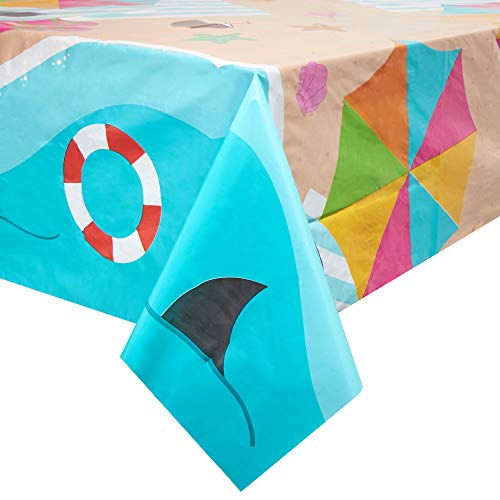 Summer Theme Parties (Juvale Summer Beach Scene Plastic Rectangle Party Table Cloth Cover (3)