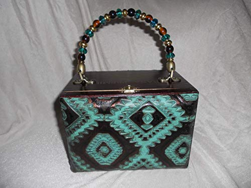 Cigarbox Purse, Embossed Croc Leather, Tina Marie Purse Purse, Vintage, Jade and Bronze