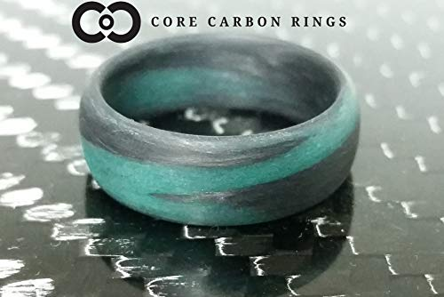 Men's or Women's Carbon Fiber Teal Marbled Glow Ring - Handcrafted - Black and Teal Glowing Band - Custom Band widths ()