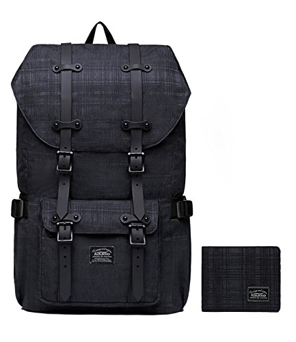Laptop Outdoor Backpack, Travel Hiking& Camping Rucksack Pack, Casual Large College School Daypack, Shoulder Book Bags Back Fits 15'' Laptop & Tablets by Kaukko (2line Black[2PC]) by KAUKKO