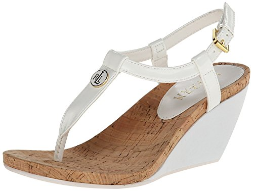 Lauren Ralph Lauren Women's Reeta Wedge Sandal, White Patent Suede Polyvinyl Chloride, 8.5 B US (White Heel High Sandals)