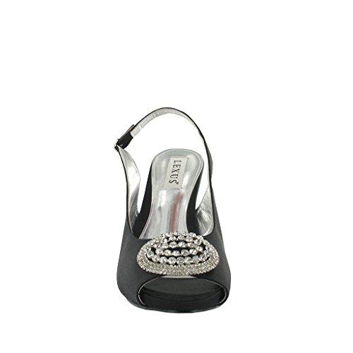 LEXUS - Zapatos de vestir de satén para mujer, color negro, talla 38.5