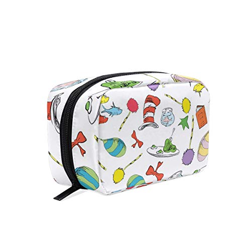 Makeup Pouch Storage Holder Travel Case Dr Seuss Pattern Cat in The Hat, Lorax, Oh The Places You'll Go Cosmetic Makeup Bag ()