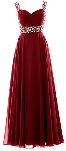 Straps Chiffon Evening Prom Dress Crystal Women Gown Burgunderrot Party Wedding Long MACloth ZgqBOw