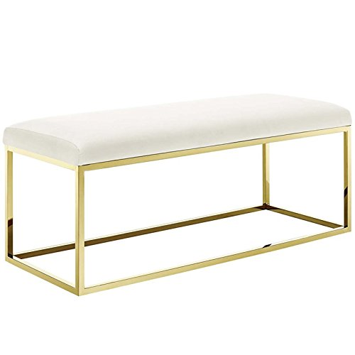 Modway EEI-2851-GLD-IVO Anticipate Fabric Bench, Gold Ivory