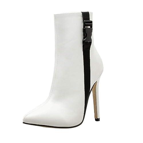 969605fe Botines tacón cuña Aguja para Mujer Otoño Invierno 2018 Moda PAOLIAN Botas  Chelsea Militares Negro Zapatos
