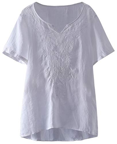 (Mordenmiss Women's Embroidered Blouse Tunic V-Neck Linen Tops Short Sleeve Hi-Low Hem Shirt)