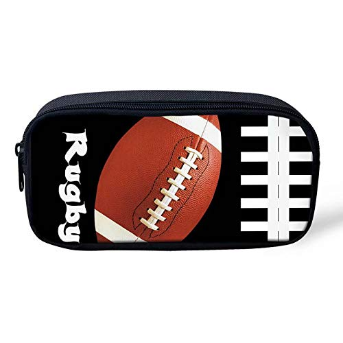 Beauty Collector Portable Student Kids Pencil Case Rugby Print Pen Bag for Boys Durable Stationery ()