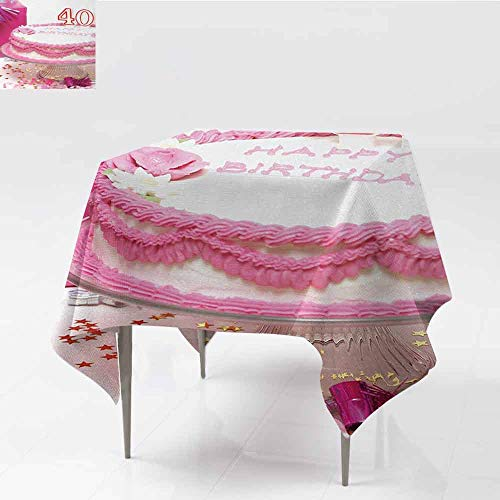 (DILITECK Washable Tablecloth 40th Birthday Pink Cream Cake with Candlesticks Present and Surprise Party Theme Indoor Outdoor Camping Picnic W50 xL50 Pink White and Red)