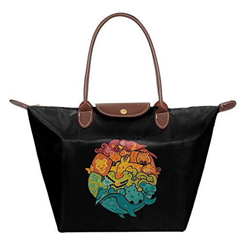 Black Tote Animal Circle Beach Bag Handbag Fashion Hobo Bags Womens Shoulder XqwBTvCn